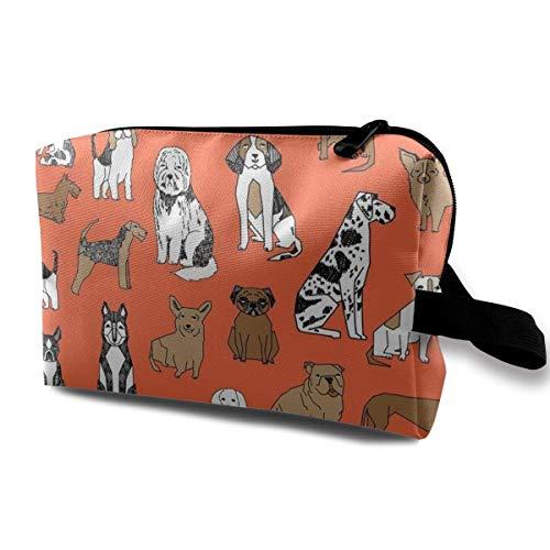 Organiseur de pinceaux de maquillage de grande capacité avec sac à main et sac de maquillage avec chien terrier orange
