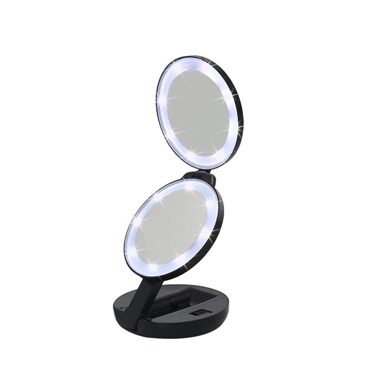 円形ひばりパトロール流行の 新しいラウンド三つ折りLEDフィルライト化粧鏡ABS素材虫眼鏡ハンドヘルド美容ミラーブラック