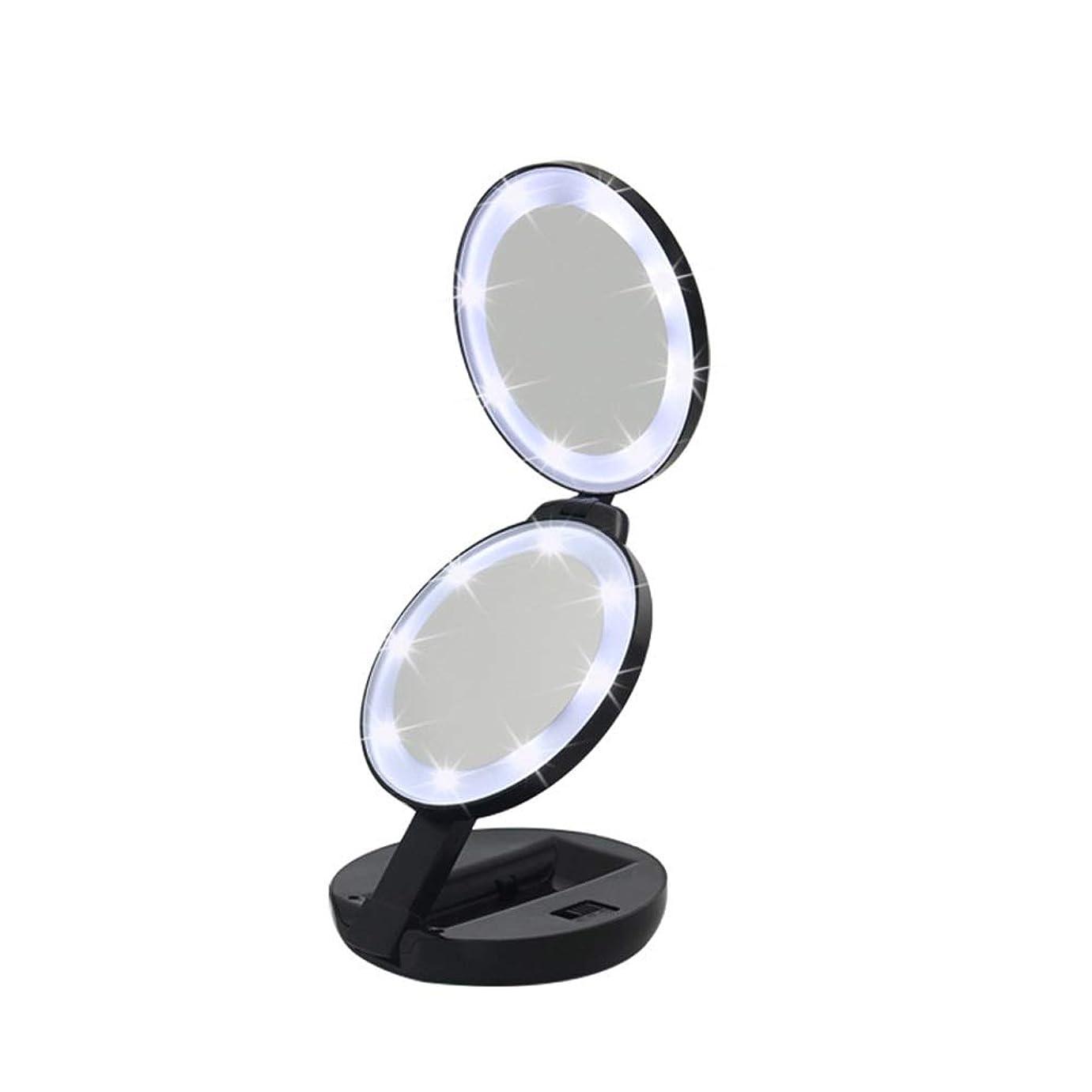所得誓い抑制する流行の 新しいラウンド三つ折りLEDフィルライト化粧鏡ABS素材虫眼鏡ハンドヘルド美容ミラーブラック