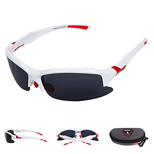 WOLFBIKE Mens Womens Cycling Sunglasses Safety Eyewear For Outdoor Activity 3 Colors Choose(White Red,Black Yellow,Black White)