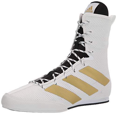 adidas Men's Hog 3 Boxing Shoe, White/Gold Metallic/Black, 12