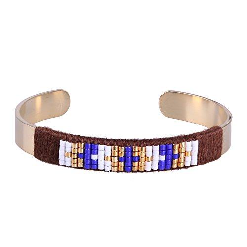 KELITCH Handgefertigt Wickeln Armbänder Rose Gold Öffnen Armband Armreif Zum Frau - Blau Kreuz