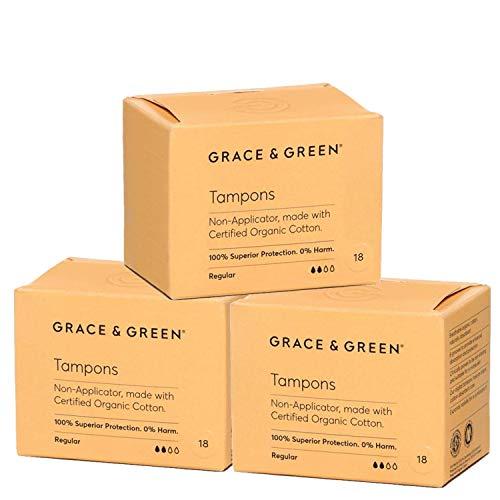Grace & Green, Premium-Bio-Tampons ohne Applikator, hergestellt aus 100% zertifizierter Bio-Baumwolle (Regular - 3 Pack)