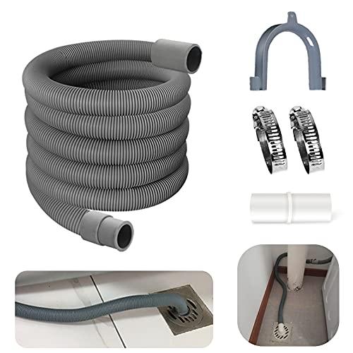 Yisscen 3m Ablaufschlauch, Waschmaschine Ablaufschlauch Bügel und Schlauchschellen Ablaufschlauch Verlängerung Set, Geeignet für Waschmaschinenschlauch/Spülmaschinenschlauch.