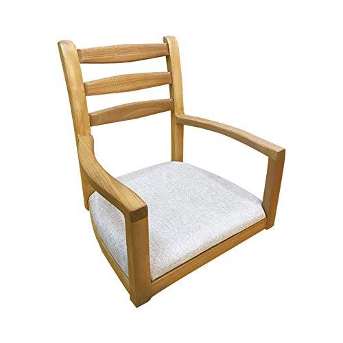 BEIGOO Legna Sedia a Terra,Giapponese Zaisu Meditation chairx con braccioli con Supporto Posteriore-A