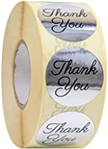 Thank you stickers Roll - Bulk 1000 Silver label Stickers - Large Round 1.5 inch size stickers-Bridal and Baby showers wedding favors-Personal and Business use - Thanks