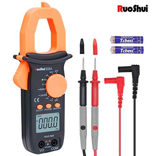 Pinza Digital en el medidor, Ruoshui 1.26 pulgadas Rango automático Multímetros MAX Distancia AC 600 Amp AC DC 600 Volt 1000 Micro Farad 20 Mega Ohm con 2 AAA Baterías & Cables de prueba