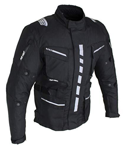 Motorradjacke Herren Textil mit Protektoren, Wasserabweisend, Winddicht, Biker Custom, Touring, Quad, Sport und Freizeit Jacke Schwarz (Schwarz, l)