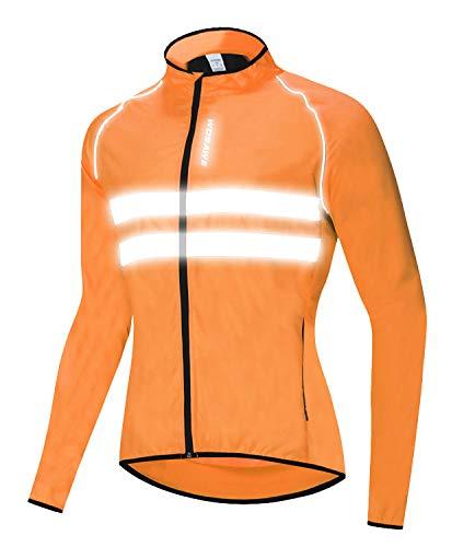 Icegrey Veste de Vélo Homme Cyclisme VTT Réfléchissant Coupe-Vent Manches Longues Orange 2XL
