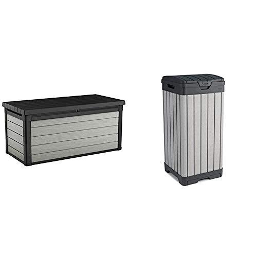 Keter Denali 150 Gallon Resin Large Deck Box-Organization and Storage, Grey & Black & Rockford Resin 38 Gallon Trash Can with Lid and Drip Tray, Grey