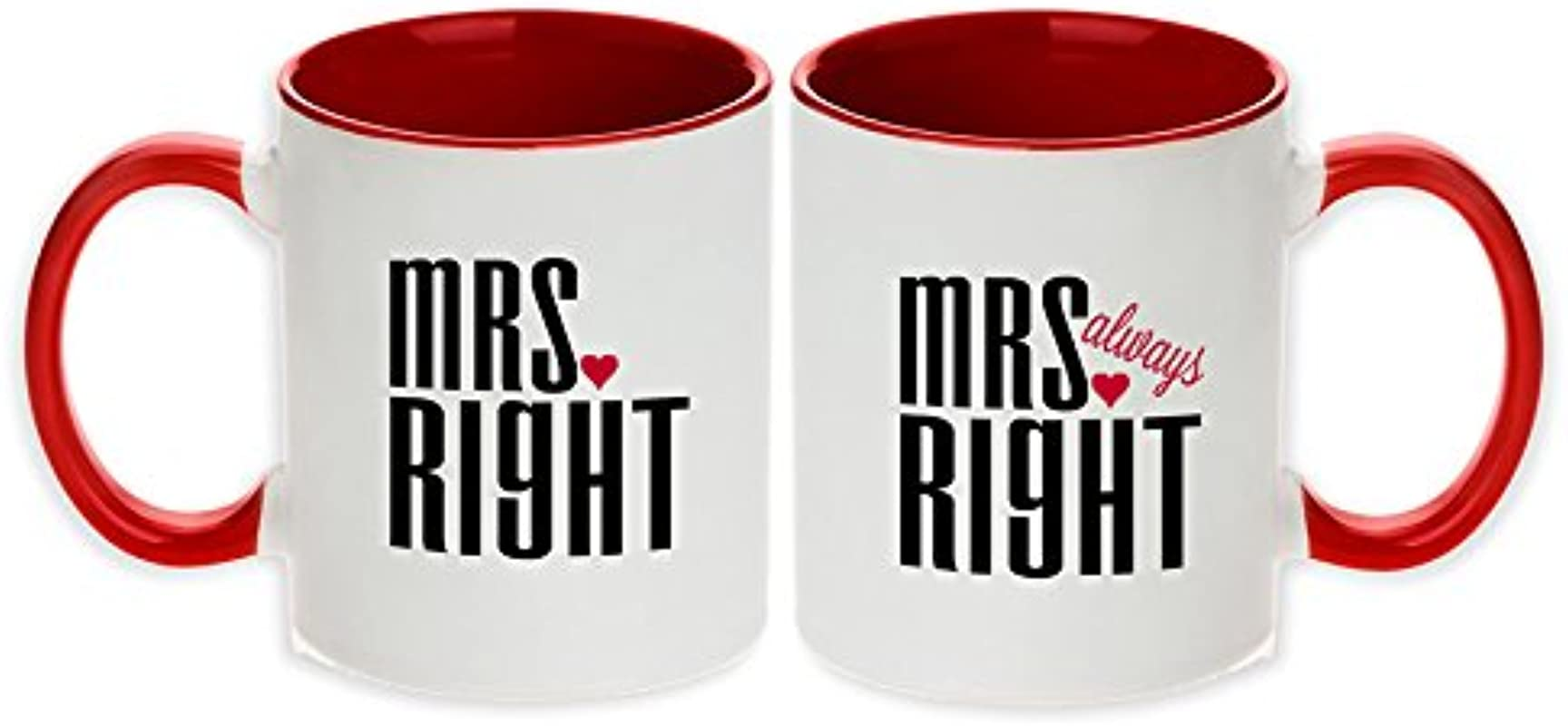 Mrs Right Mrs Always Right Unique Pair Mugs Red Set Of 2pcs