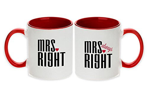 Mrs. Right & Mrs. Always Right Unique Pair Mugs (Red - Set of 2pcs)