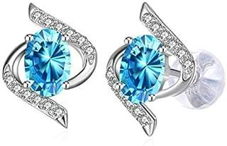 J.Rosée Women Cubic Zirconia Swarovski Elements 925 Sterling Silver Crystal Studs Earrings JR667