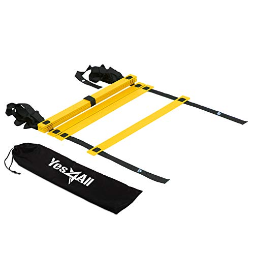Yes4All Agility Ladder  Speed Agility Training Ladder with Carry Bag - 8 Rung (Yellow) - SGQV