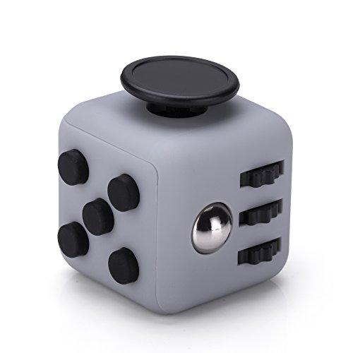 VAPIAO Anti Stress Cube wie Fidget Würfel mit 6 Seiten und Funktionen gegen Stress in Grau Schwarz