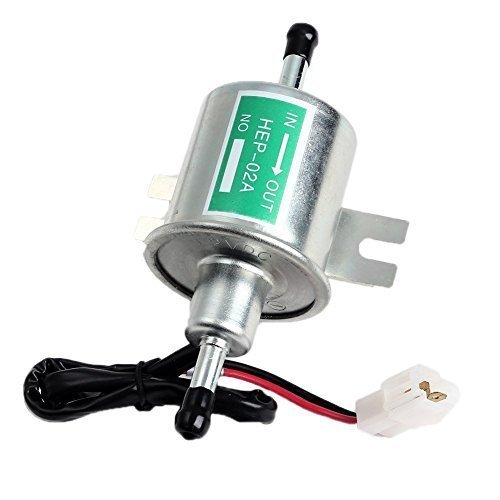 Aussel 12V Universal Heavy Duty Electric Fuel Pump Metal Low Pressure Bolt Fixing Wire Inline for Gasoline & Diesel HEP-02A
