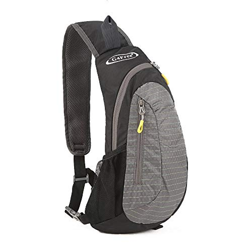 G4Free Sling Backpack Small Cross Body Bag Shoulder Chest Pack (Black-Grey)