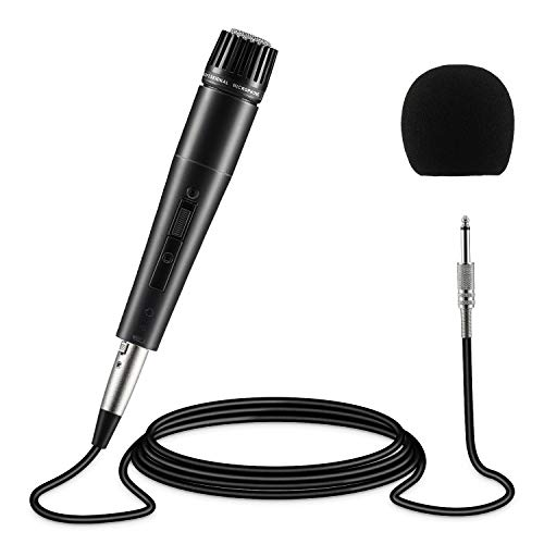 Moukey Instrument Vocal Microphone Dynamic Cardioid Wired Mic Metal Handheld, 16.4 ft XLR Cord for Guitar/Drum/Bass/Harmonica/Karaoke/Stage with Switch (MWm-4)