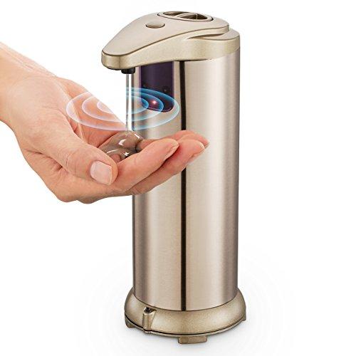 Distributore Automatico di Sapone Liquido Contactless Il piano d'appoggio Sulla Base Impermeabile Acciaio Inossidabile per Cucina Bagno per Disinfettante Shampoo Emulsione