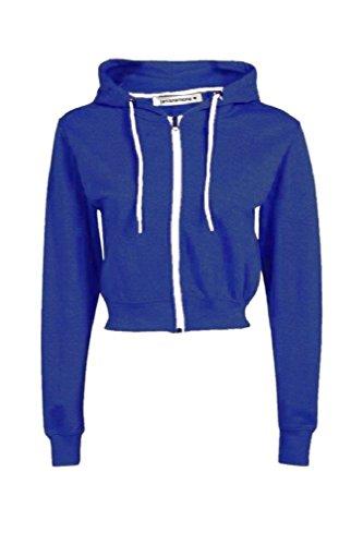 New Womens Hooded Zip Up Crop Hoodie Plain Fleece Jacket Sweatshirt Jumper Top Royal Blue