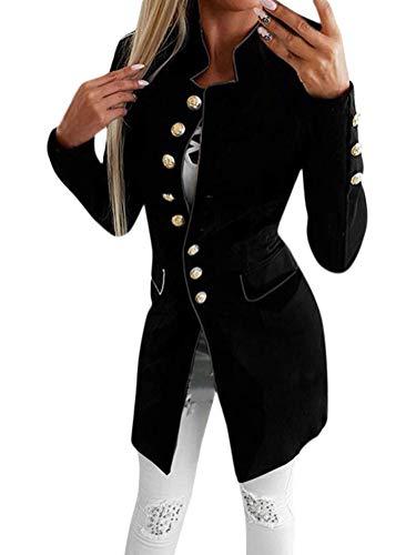 Tomwell Donna Elegante Blazer Manica Lunga Moda Tinta Unita Slim Fit OL Giacca con Pulsante Casual Ufficio Business Lavoro Giacca Cappotto Corto Capispalla Tops Nero IT 44