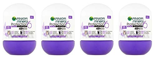 (Pack of 4) Garnier Mineral Protection 6 Floral Fresh Scent Anti-perspirant Roll On for Women 4x50ml