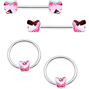 NIPPLE RINGS PIERCING STEEL 4PC PINK ACCENT BUTTERFLY BCR BARBELL NIPPLE RINGS 9/16″ 1/2″