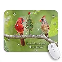NINEHASA 可愛いマウスパッド 鳥ノーザンカーディナルペアクリスマスツリー鳥バードバードウォッチングノンスリップラバーバッキングマウスパッドノートブックコンピュータマウスマット