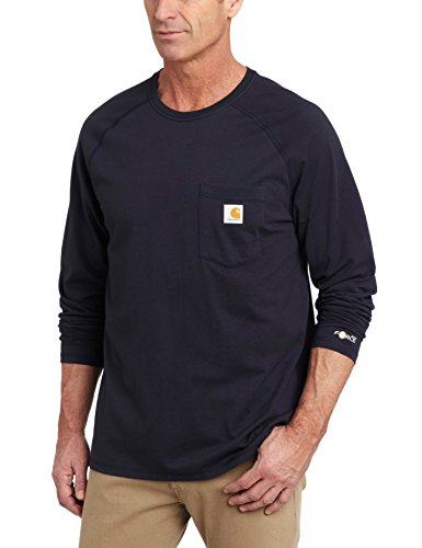 Carhartt Men's Force Cotton Delmont Long-Sleeve T-Shirt (Regular and Big & Tall Sizes), Navy, Large