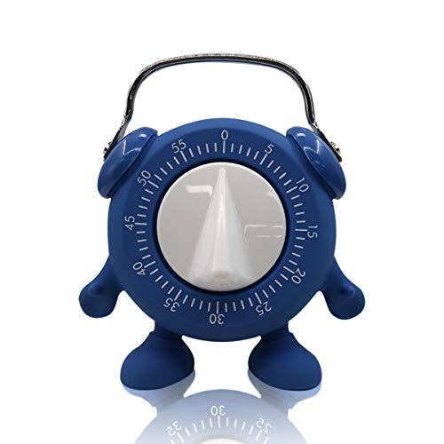 Kitchen Timer, for Baking Teaching Cooking Egg Potty Training Cute 60 Mins Twist Timer with Ring Alert, No Battery (Blue)