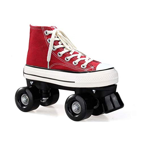ZXSZX Zapatos Rodantes con 4 Rollos Patines De Lienzo Scooter Patines con Doble Fila High Sneaker Style Style Damas and Girls, Rot-41