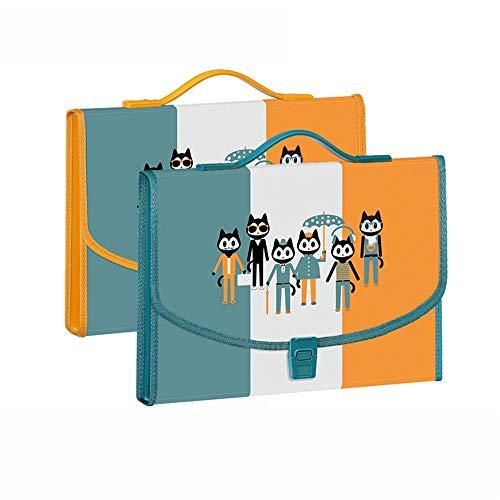 Ryyland-Home Ordner 7 Compartments tragbare Orgel Tasche A4 Mehrschichtige Datei Bill Ordner Test Paper Bag File Folder Organizer mit Griff Akkordeon-Ordner Schreibtisch Lagerung Expander