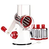 Cambom Manual Rotary Cheese Graters - Round Mandoline Slicer Cheese Shredder Vegetable Slicer Walnuts Grinder with Strong-Hold Suction Cup Base and Cleaning Brush(C315RW)