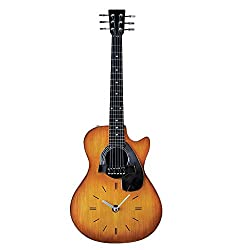 Collections Etc Unique Realistic Guitar Clock Wall Decor - 21 H with Hook on Back for Easy Hanging, Gift Idea for Music Lover