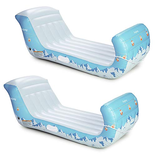 FUNBOY Giant Inflatable Luxury Alpine Mountain Sleigh, Winter Snow Sled, Perfect for Holiday Adventures, Bundle, Pack of 2 Sleighs