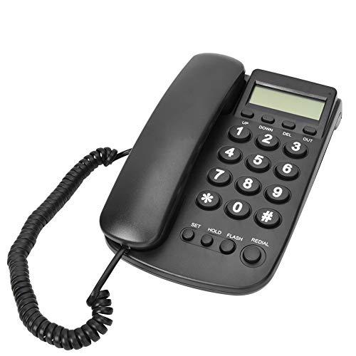 Teléfono Fijo para teléfono Comercial con Cable, FSK/DTMF Sistema Dual Escritorio Soporte telefónico Lindline Función Flash para la Oficina del Hotel en casa(Negro)