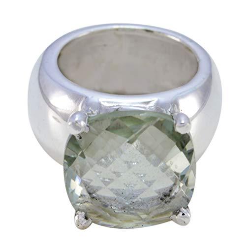 joyas plata bonito cojín de piedras preciosas forma una piedra cheker anillo de amatista verde - anillo de amatista verde de plata esterlina - nacimiento de marzo piscis