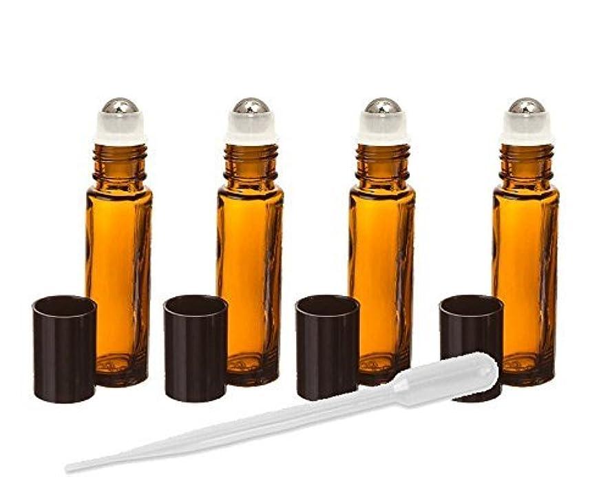 ストリーム上級杭Grand Parfums Amber Glass Essential Oil Rollerball Bottles with Stainless Steel Rollerballs, 10ml Aromatherapy Glass Roll on Bottles - Set of 6 (Amber) 6 Pack Roller Ball Glass Bottles [並行輸入品]