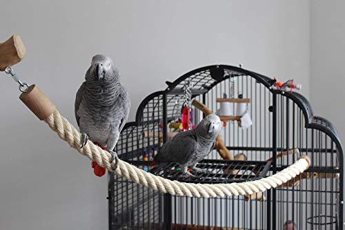 SISALSEIL Papageienspielzeug SITZ-/KLETTERSEIL aus SISAL Freisitz SITZSTANGE 2 x Karabiner VERSCHIEDENE LÄNGEN