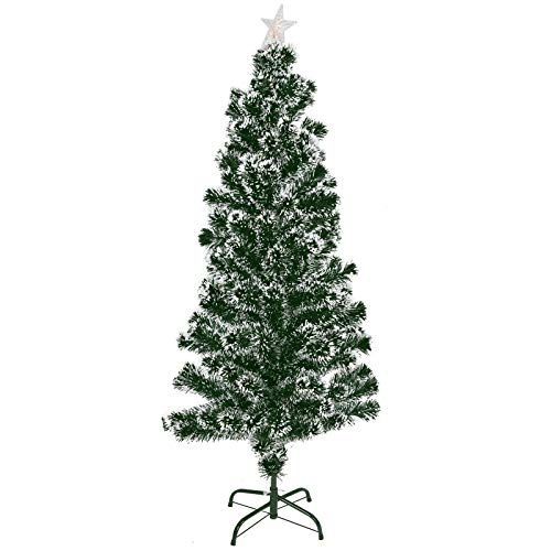 ASAB Christmas Tree 5FT Fibre Optic Artificial Xmas Snow Tipped Pre Lit Tree Traditional Decorations Indoor Metal Stand
