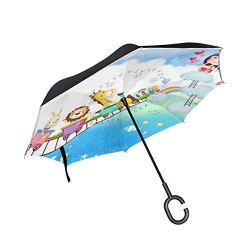 ETGeed Inverted Umbrella Girl und Tiere im Spiel Train Reverse Umbrella