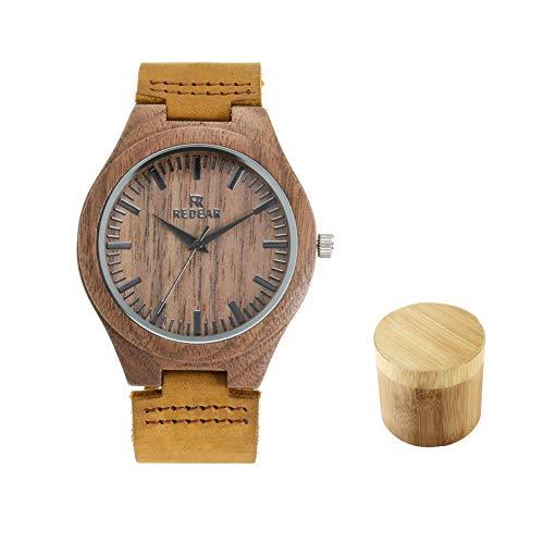 Reloj de Madera de bambú para Hombre, Cuarzo con Correa Ajustable Artesanía Artesanal Madera Relojes Reloj De Madera De Bambú para Hombre - Enviar Familia