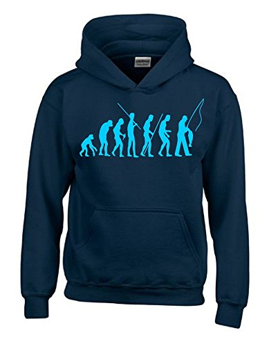 Coole-Fun-T-Shirts Angeln - FISCHEN Evolution Kinder Sweatshirt mit Kapuze Hoodie Navy-Sky, Gr.152cm