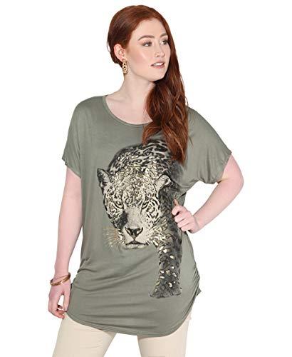 KRISP Camiseta Mujer Blusa Leopardo Top Brillante Camisa Casual Tallas Grandes, Caqui, 48 EU (20 UK),...