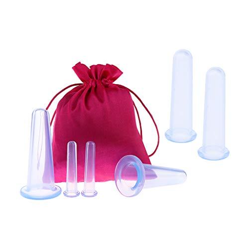 6 Stücke Anti Cellulite Silikon Vakuum Massage Saug Schröpfen Tassen Für Gesicht, Auge, Hals, Rücken, Brust