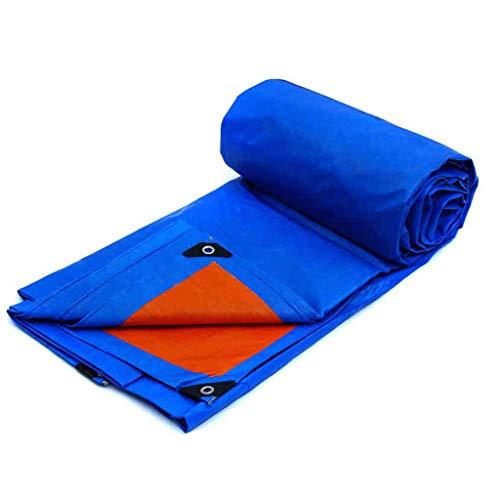 Outing Udstyr, dubbelzijdig regendicht dekzeil, zonwering Tarp PVC materiaal voor kamperen, vissen, tuinieren en huisdier board regendichte luifel regendichte dekzeil vloerbedekking, blauw oranje, Kejing Mia 4x6m