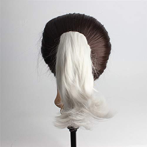 LYHD Postiche Fibre Synthétique Invisible No Gap pour Les Filles des Femmes Pince Pince de Queue de Cheval dans Les Extensions de Cheveux, Blanc