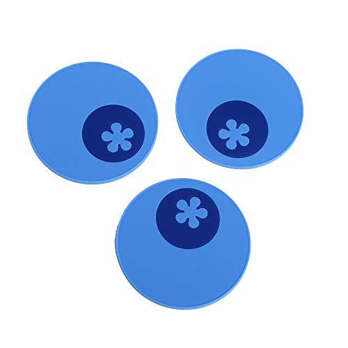 Kochblume Multi-Untersetzer 3er-Set, Glasuntersetzer, Löffelablage, Topfuntersetzer, Handy Ablage, Flaschenuntersetzer, Silikon Pad, rutschfest, spülmaschinenfest, hitzebeständig (blau)