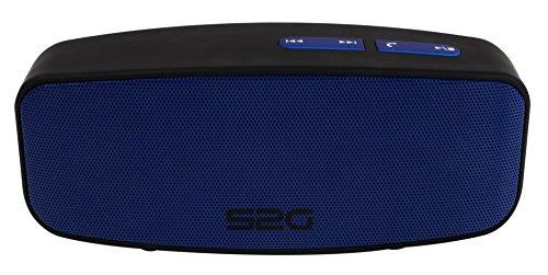 S2G AXESS Stereo Bluetooth Lautsprecher, FM Radio, USB, Micro-SD, Spritzwassergeschützt, kraftvoller Bass, Outdoor, Indoor, Modernes Design - Schwarz/Blau