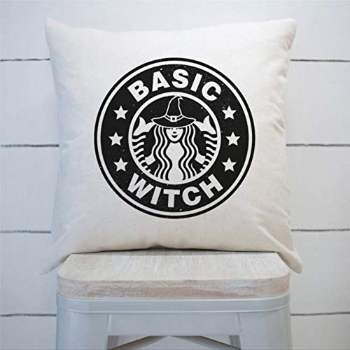 DONL9BAUER Farmhouse Basic Witch Starbucks Fall Halloween Premium Funda de almohada decorativa para dormitorio interior, sofá, sala de estar, coche.